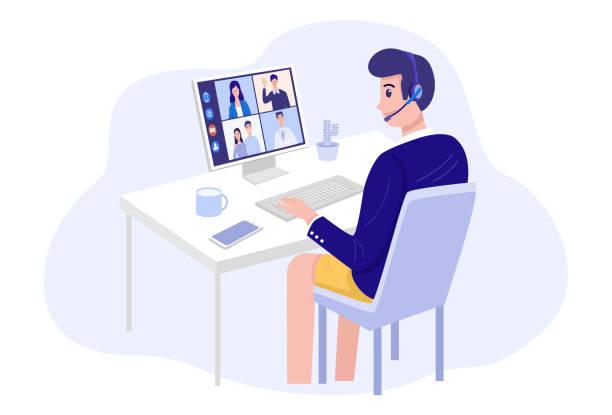 自宅でビデオ会議, 自宅でクライアントとのビデオ通話会議を持っている男.ベクトル - オンライン会議点のイラスト素材/クリップアート素材/マンガ素材/アイコン素材