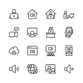 16 Video Conferencing Outline Icons. Camera, Video Chat, Online Messaging, Video Messaging, Video Call, Video Conference, Webinar, Remote Work, Working with Team, Smart Working, Teamwork, Video Conference Equipment, Business Team in Video Conference, Business People Communicating using Video Application, Remote Learning, Global Workforce, Computer Network, Wifi, Freelancer, Stay Home, Work from Home.