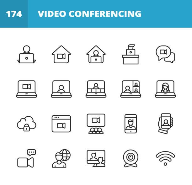 illustrazioni stock, clip art, cartoni animati e icone di tendenza di icone della linea di videoconferenza. tratto modificabile. pixel perfetto. per dispositivi mobili e web. contiene icone come fotocamera, videochat, messaggistica online, videoconferenza, webinar, lavoro remoto, lavoro di squadra, apprendimento remoto, libe - video call