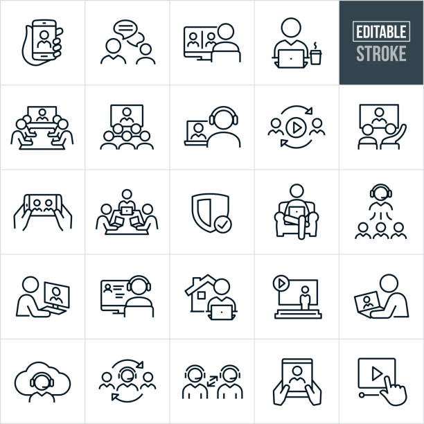 Video Conferencing Thin Line Icons - Editable Stroke A set of video conferencing icons that include editable strokes or outlines using the EPS vector file. The icons include several different people engaging in video conferencing, webinars, online meetings, telecommunications and other online trainings and meetings between people and workers. They include a web conference on a mobile phone, two business people chatting, a person on a computer engaged in a teleconference with two other business people, person on laptop, a boardroom full of workers watching a video conference, a group of people watching a video conference, a person telecommunicating with another person on a laptop computer, online video, two people engaged in an online educational training, webinar on a smartphone, three business people in a boardroom on laptops as part of a video conference, person sitting in chair on laptop, business person working from home, people telecommuting from home, people using headsets for video conference and other related icons. communication stock illustrations