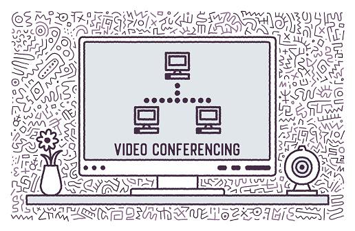 Video Conferencing Vector Doodle Design