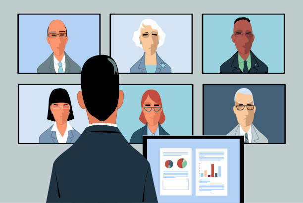 video conferencing - virtual meeting stock illustrations