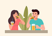 Man and woman eating burgers isolated. Vector flat illustration