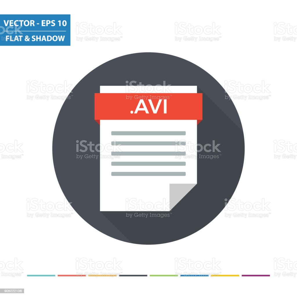 AVI video document file format flat icon vector art illustration