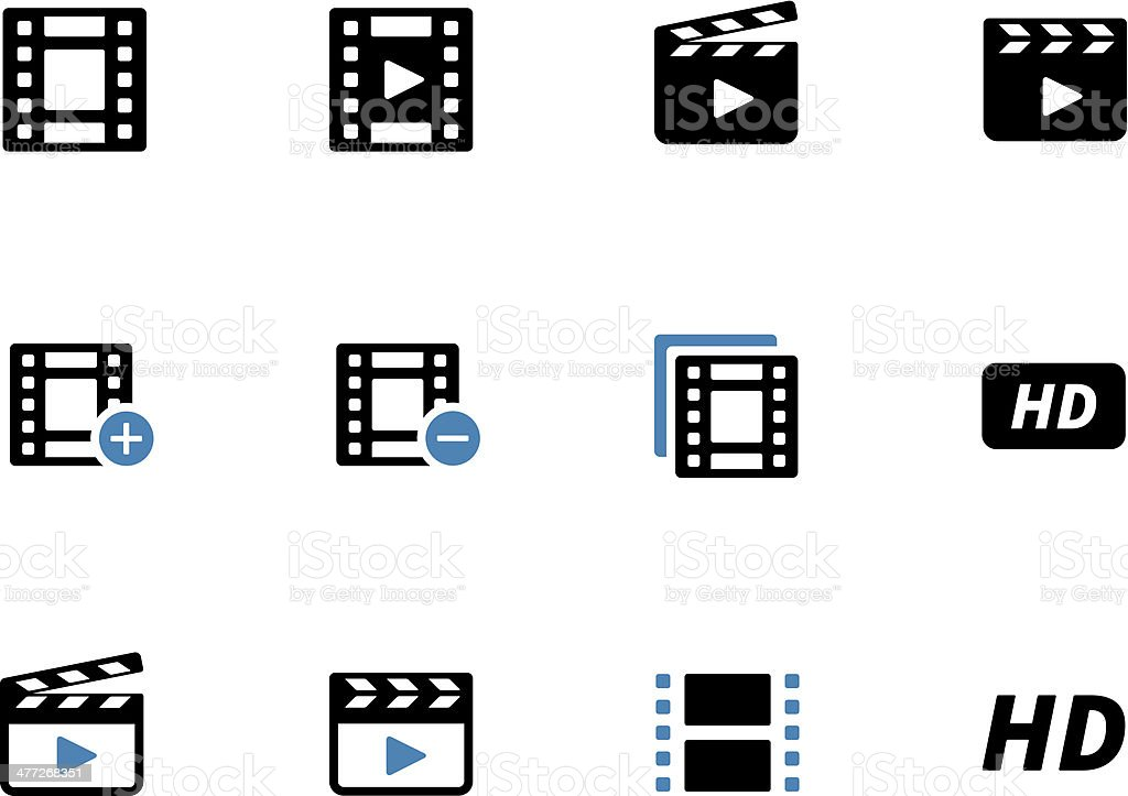 Video duotone icons on white background. royalty-free stock vector art