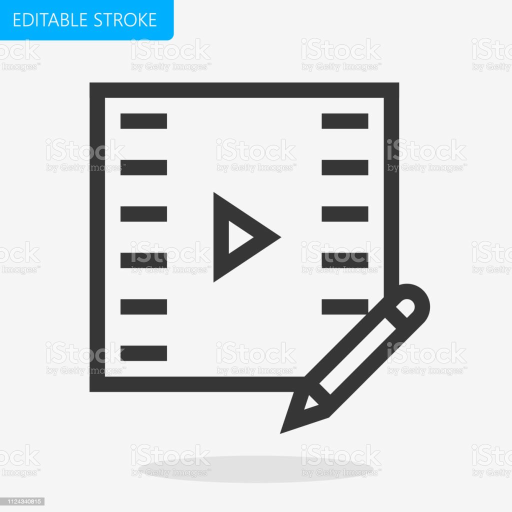 Video Edit icon Editable Stroke. Pixel Perfect Vector Icon