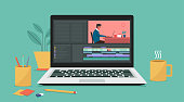 istock Video editing software on laptop computer 1306687020