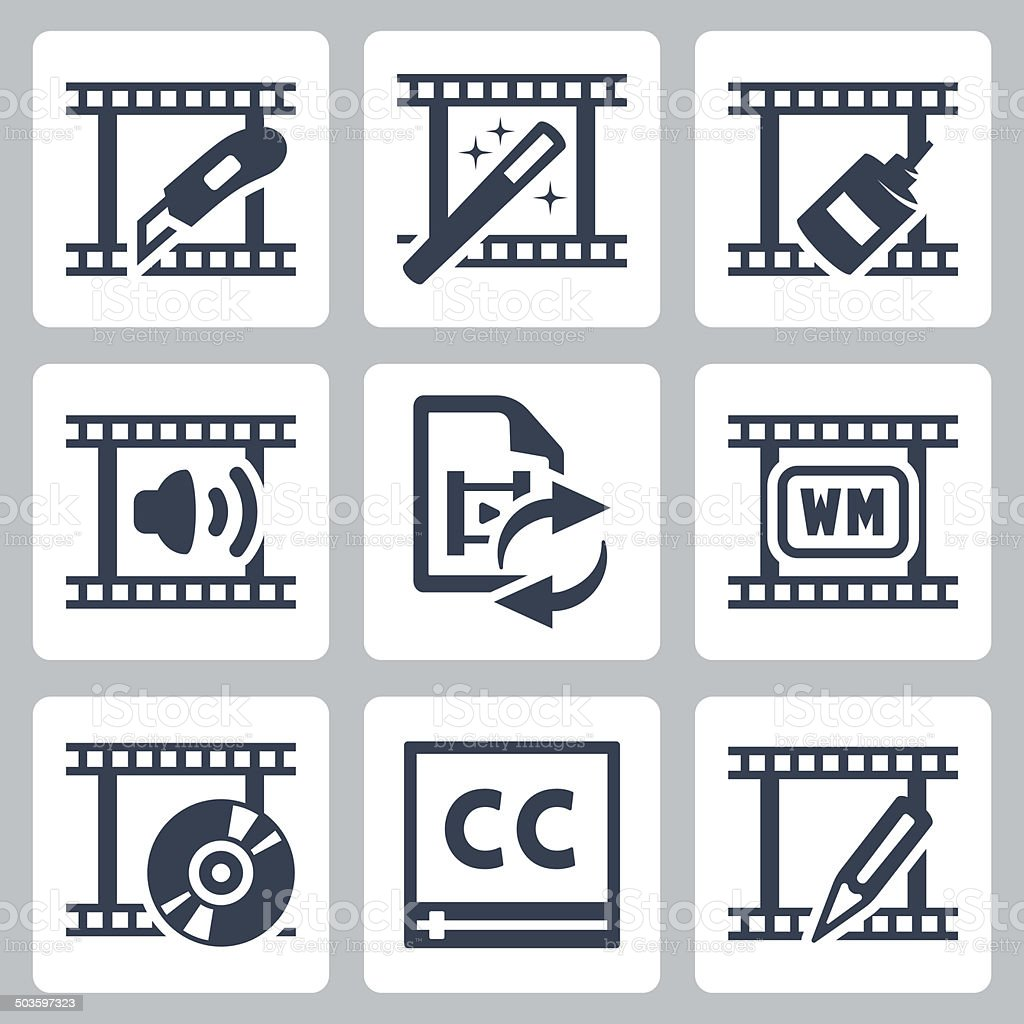 Video editor and converter icons set