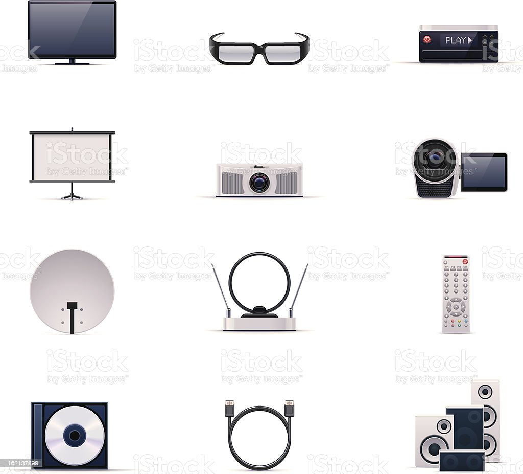 Video electronics icon set royalty-free stock vector art