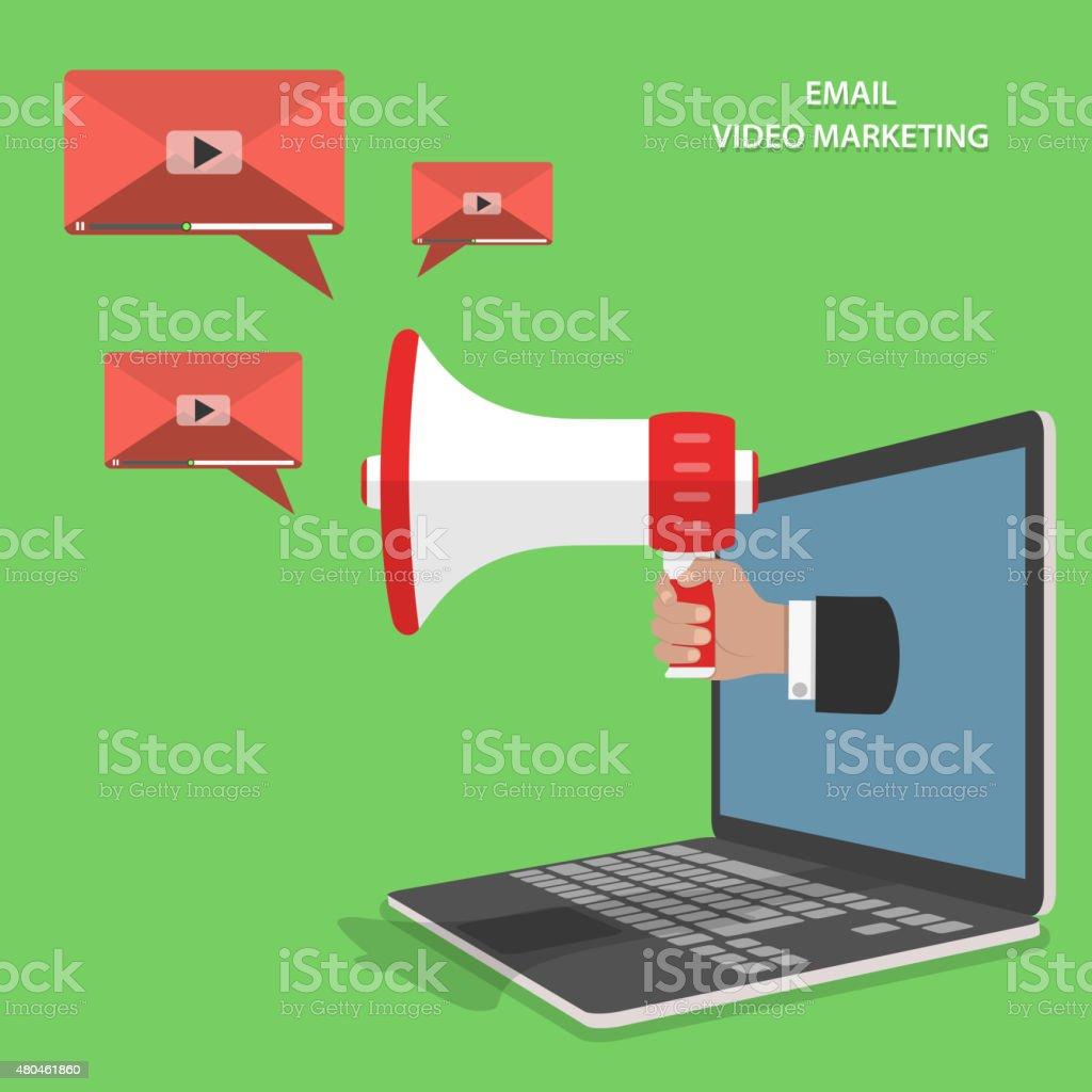 Video-E-Mail-marketing isometrische Vektor-Flachbildfernseher. – Vektorgrafik