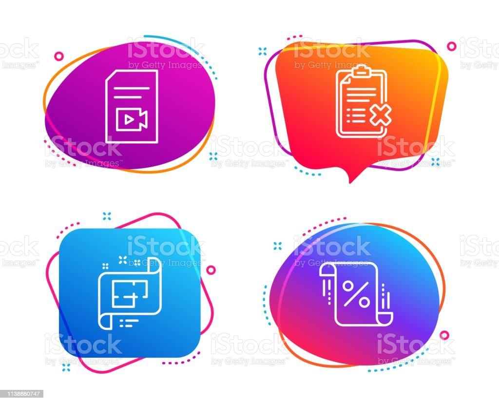 Videodatei, Checkliste und Architekturplan-Icons gesetzt. Unterschrift in den Krediten. Vektor – Vektorgrafik