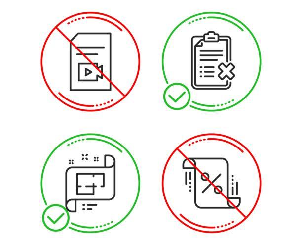 videodatei, checkliste und architekturplan-icons gesetzt. unterschrift in den krediten. vektor - hypotheken kündigung stock-grafiken, -clipart, -cartoons und -symbole