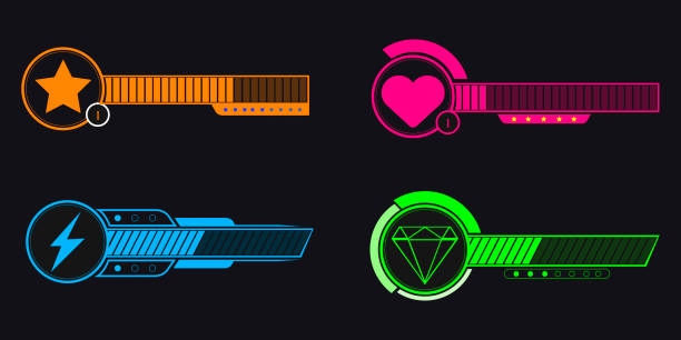 Video game bars Set of video game bars on a black background, Vector illustration leisure games stock illustrations