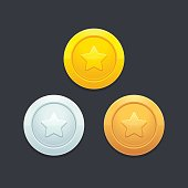 Video game coins or medals set. Gold, silver and bronze. Graphic user interface design element, vector illustration.