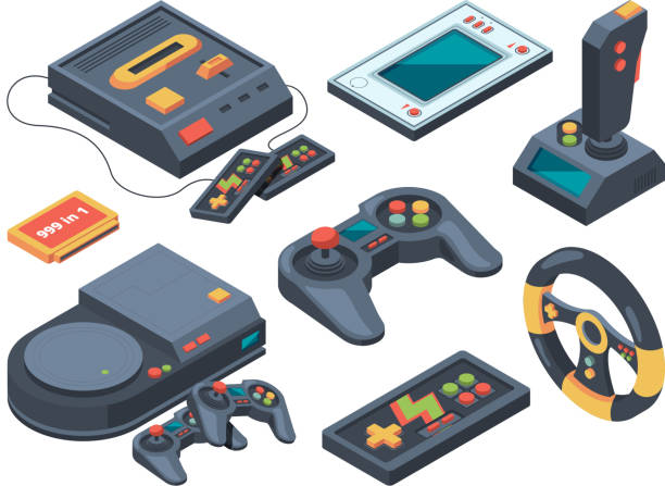 Video game console and different technical gadgets Video game console and different technical gadgets. Game console and play electronic arcade illustration vector video game stock illustrations