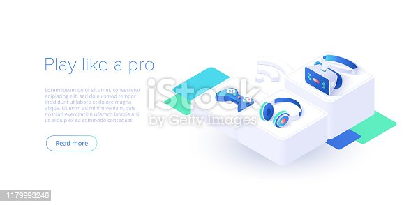 Video game controller and headphones set in isometric vector illustration. Videogame console joystick connected via wi-fi internet. Web banner layout template for website or social media.