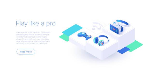 アイソメベクトルイラストで設定されたビデオゲームコントローラとヘッドフォン。wi-fiインターネット経由で接続されたビデオゲームコンソールジョイスティック。ウェブサイトやソーシ� - ゲーム ヘッドフォン点のイラスト素材/クリップアート素材/マンガ素材/アイコン素材