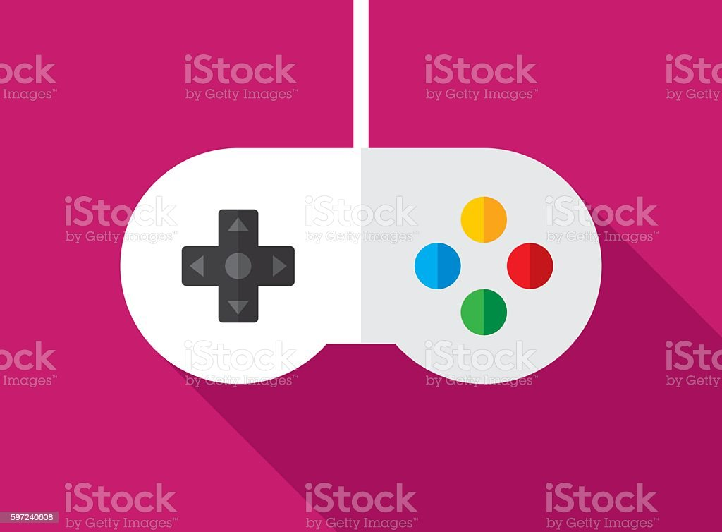 Video Game Controller Icon Flat vector art illustration
