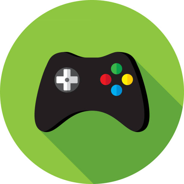 Video Game Controller Icon Flat Vector illustration of a black video game controller against a green background in flat style. game controller stock illustrations