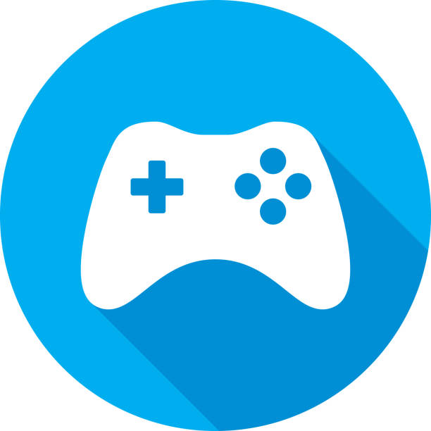 Video Game Controller Icon Silhouette Vector illustration of a blue video game controller icon in flat style. game controller stock illustrations