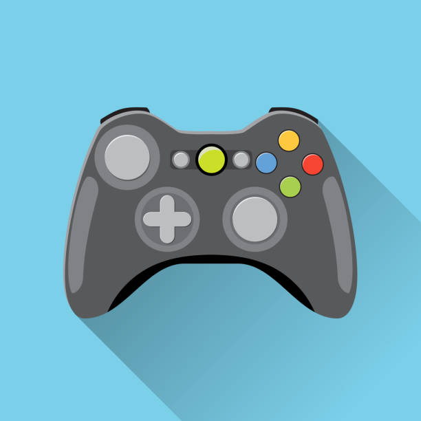 Video game Controller Icon. Video game Controller Icon. wireless grey gamepad. vector illustration in flat design with long shadow on blue background game controller stock illustrations
