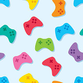 istock Video Game Controller Pattern Colorful 959016016