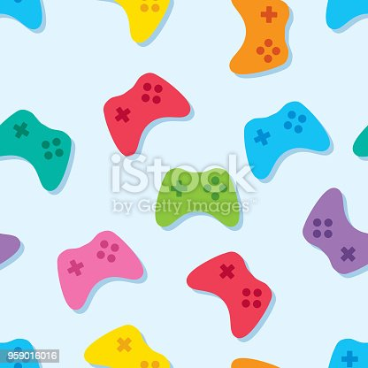 Vector illustration of multi-colored video game controllers in a repeating pattern.