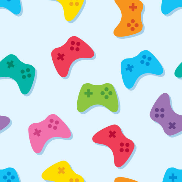 Video Game Controller Pattern Colorful Vector illustration of multi-colored video game controllers in a repeating pattern. gamepad stock illustrations
