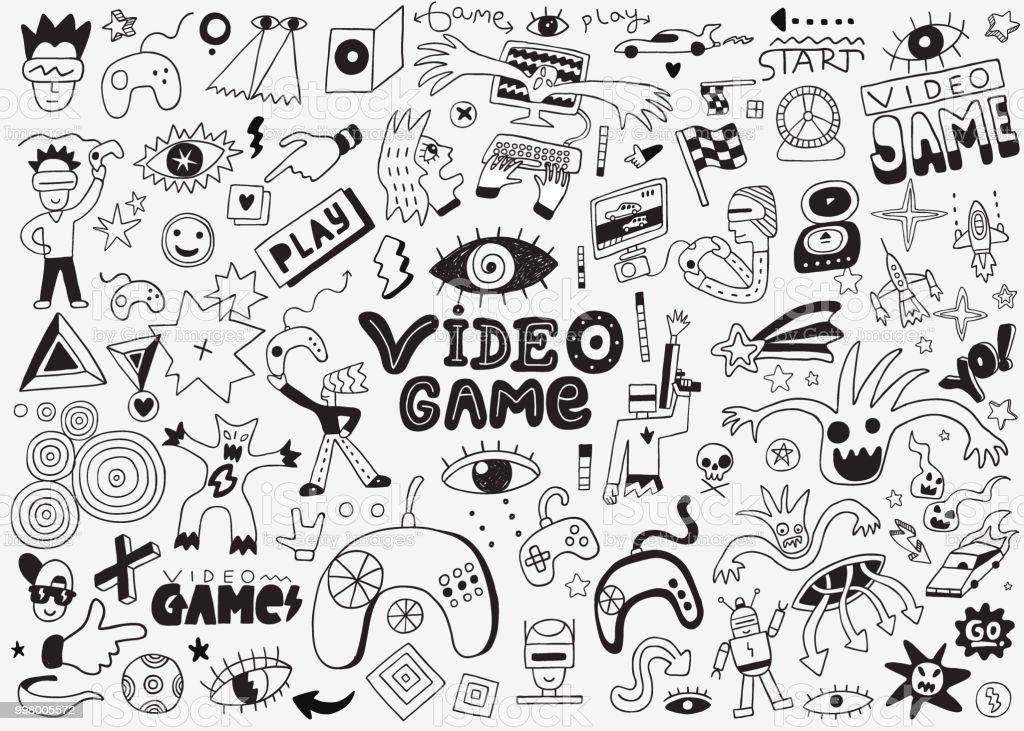 Jeu Video Jeu De Doodle Dessins Au Crayon Vecteurs Libres De Droits Et Plus D Images Vectorielles De Art Istock