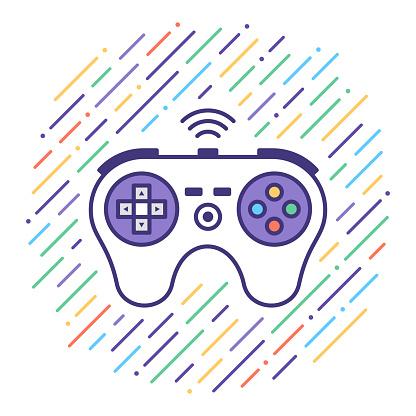 Video Game Flat Line Icon Illustration