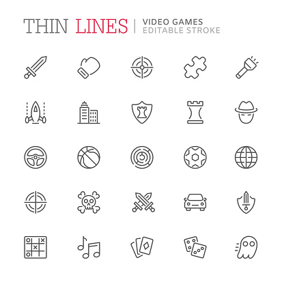 Video game genres related line icons. Editable stroke