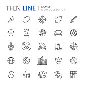 Video game genres thin ine icons