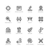 Video game genres vector icons set in editable line style #2