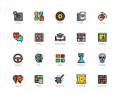 Video game genres vector icons set in filled outline style