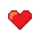 video game heart pixelated icon vector illustration design