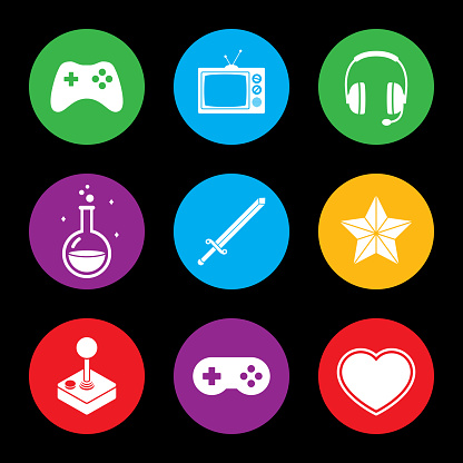 Video Game Icon Set Colorful