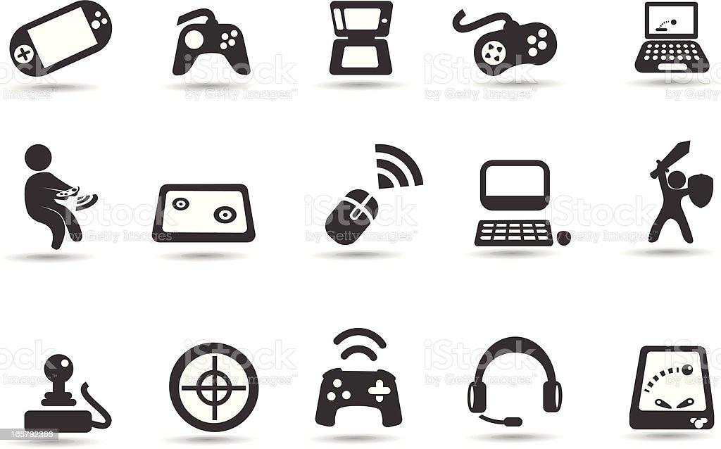 Video Game Icon Set vector art illustration