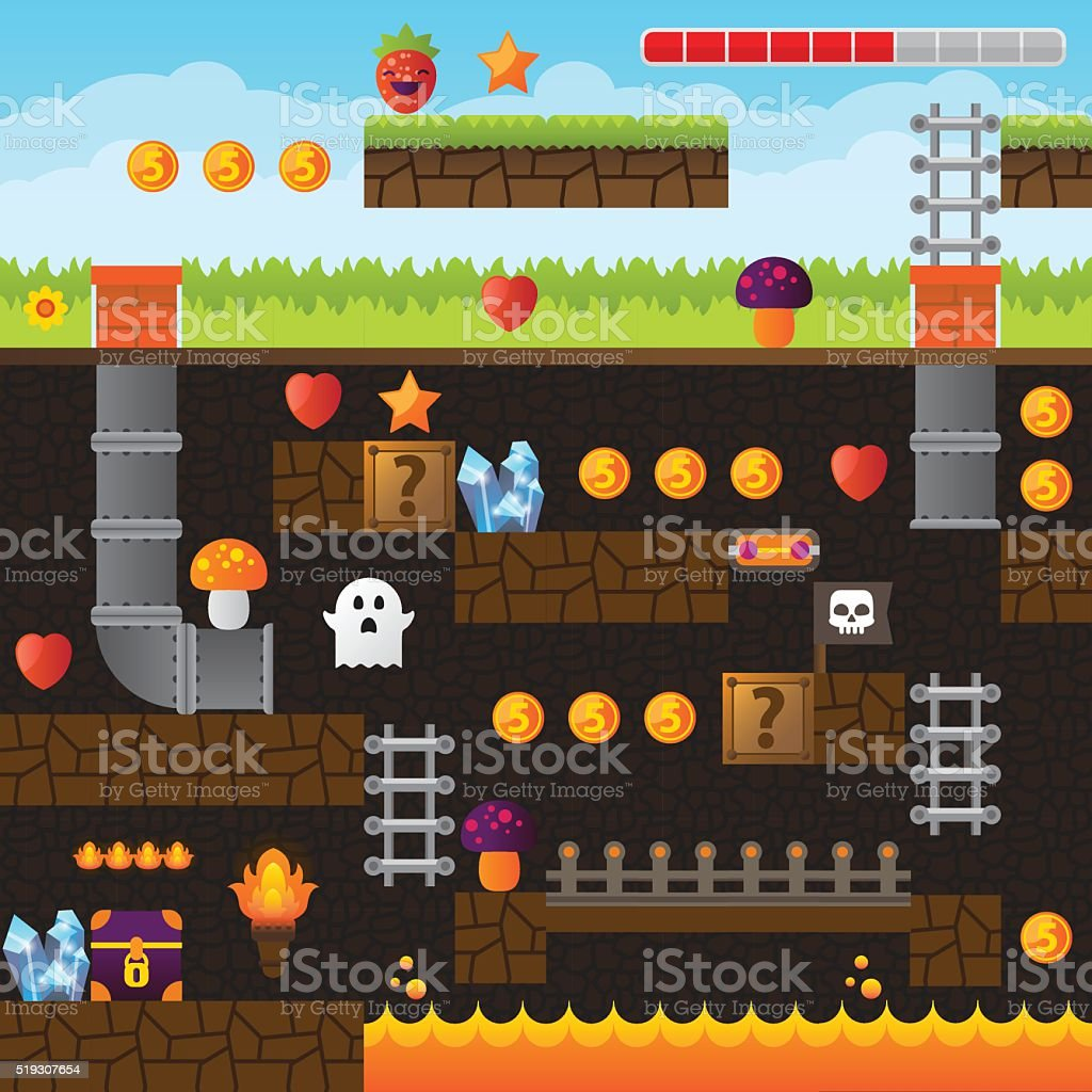 Video game interface design elements. Underground vector art illustration
