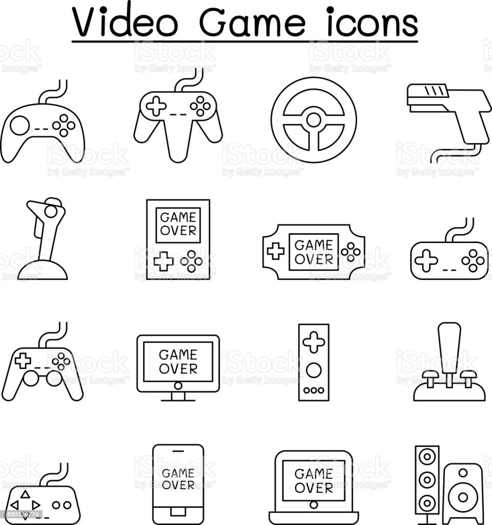 Video Game & Joystick icon set in thin line style video game joystick icon set in thin line style - stockowe grafiki wektorowe i więcej obrazów aplikacja mobilna royalty-free