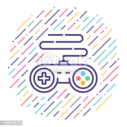 Line vector icon illustration of video game controller.