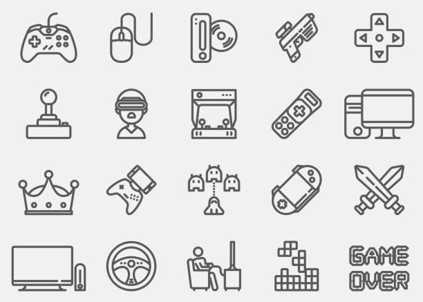 Video game Line Icons Video game Line Icons leisure games stock illustrations