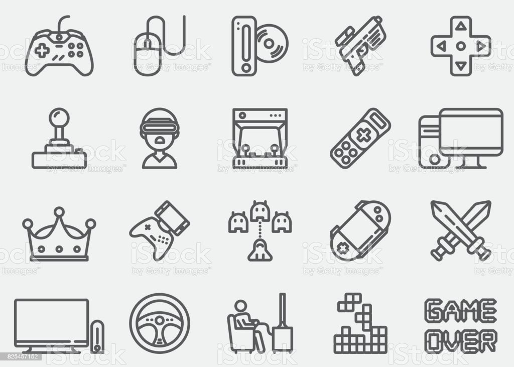 Video game Line Icons vector art illustration