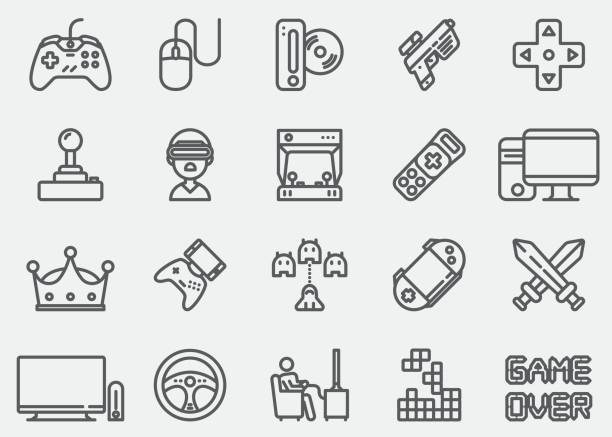 Video game Line Icons Video game Line Icons game controller stock illustrations