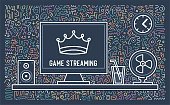 Video game live streaming; hand drawn graphic designs with doodle like backgrounds. You can use it like cards, banners or templates for your other design ideas.