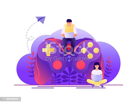 Video game, playing online. Large gamepad with sitting tiny people characters. Flat concept vector illustration for web page, banner, presentation.