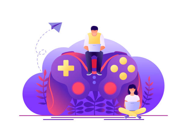 ilustrações de stock, clip art, desenhos animados e ícones de video game, playing online. large gamepad with sitting tiny people characters. flat concept vector illustration for web page, banner, presentation. - man joystick