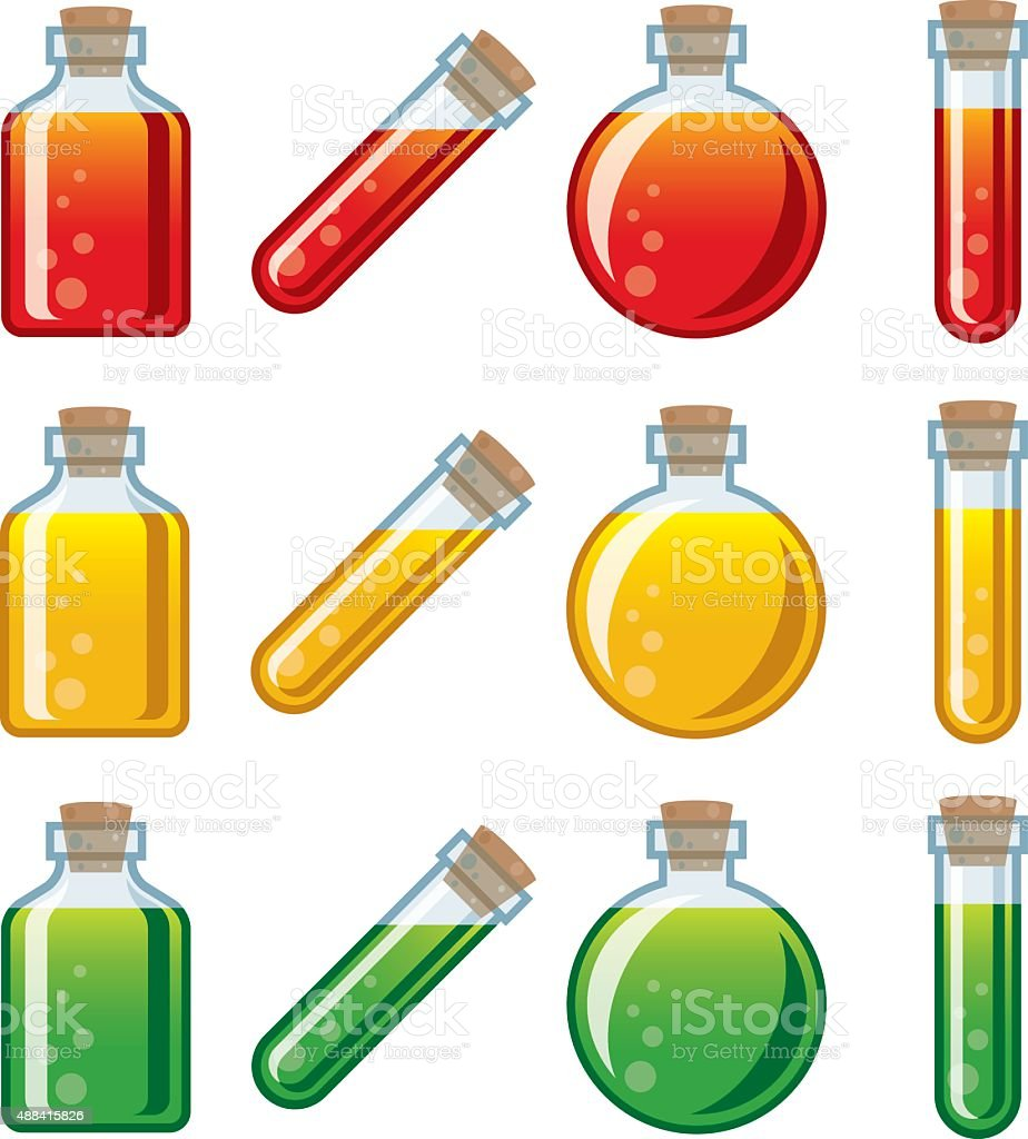 Video Game Potion Icon Set vector art illustration