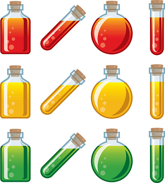 Video Game Potion Icon Set A set of video game style potions, such as those used to heal, poison, etc. Four different glass jar with cork styles available: Squared bottle, spherical bottle, and a tubular vial in two different angles. Download includes AI10 vector EPS and a high resolution JPEG. Some shapes contain simple transparencies (the highlights on the bottles and the bubbles in the potions). potion stock illustrations