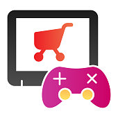 Video game purchase flat icon. Game console and shopping cart color icons in trendy flat style. Game controller and trolley gradient style design, designed for web and app. Eps 10