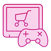 Video game purchase flat icon. Game console and shopping cart pink icons in trendy flat style. Game controller and trolley gradient style design, designed for web and app. Eps 10